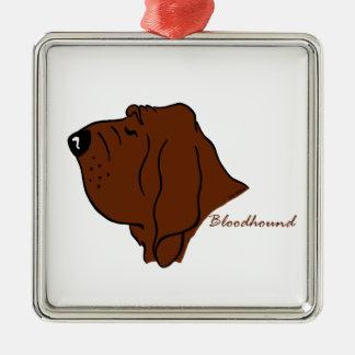 Bloodhound head silhouette Silver-Colored square ornament