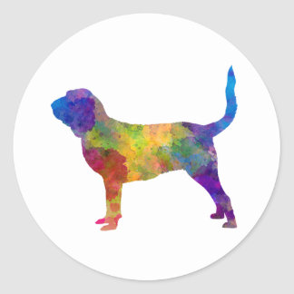Bloodhound in watercolor classic round sticker