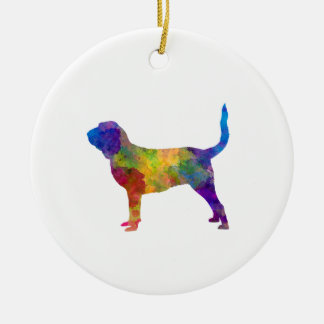 Bloodhound in watercolor round ceramic ornament
