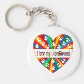 Bloodhound Love Basic Round Button Keychain
