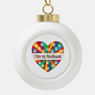 Bloodhound Love Ceramic Ball Ornament