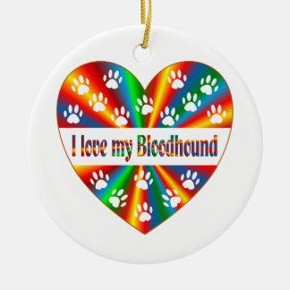 Bloodhound Love Round Ceramic Ornament