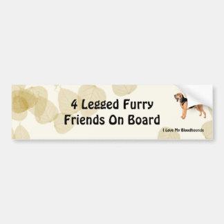 Bloodhound on Tan Leaves Bumper Sticker