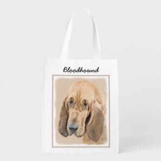 Bloodhound Painting - Cute Original Dog Art Reusable Grocery Bag