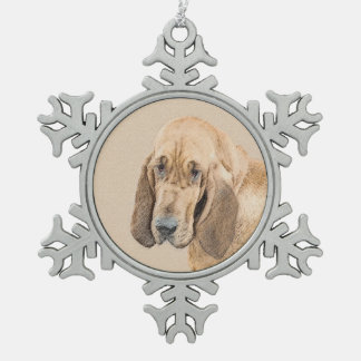 Bloodhound Pewter Snowflake Ornament