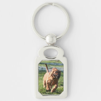 bloodhound running Silver-Colored rectangle keychain