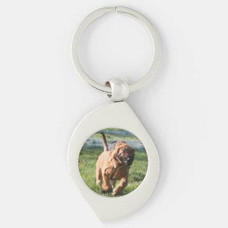 bloodhound running Silver-Colored swirl keychain
