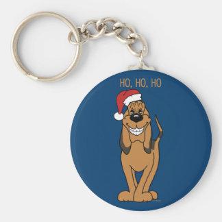 Bloodhound Santa Basic Round Button Keychain