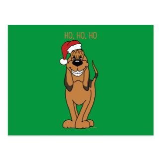Bloodhound Santa Postcard