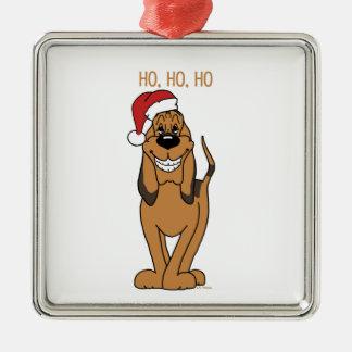Bloodhound Santa Silver-Colored Square Ornament