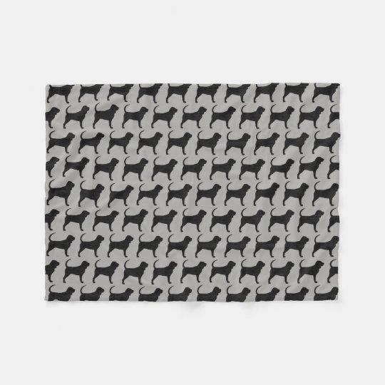 Bloodhound Silhouettes Pattern Grey Fleece Blanket