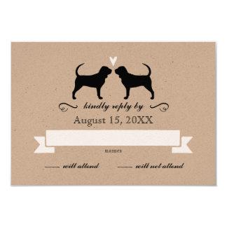 Bloodhound Silhouettes Wedding RSVP Card