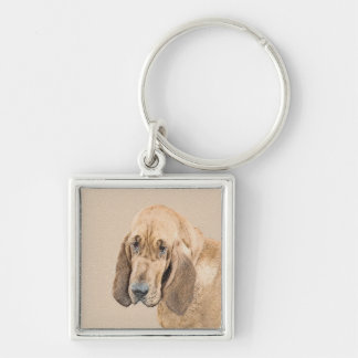 Bloodhound Silver-Colored Square Keychain