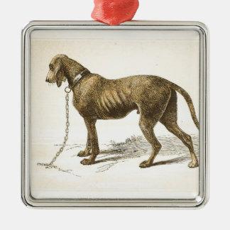 Bloodhound Silver-Colored Square Ornament