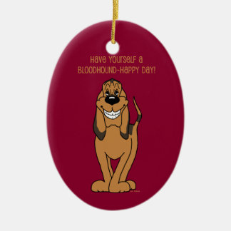Bloodhound Smile Ceramic Oval Ornament