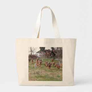 bloodhounds working large tote bag