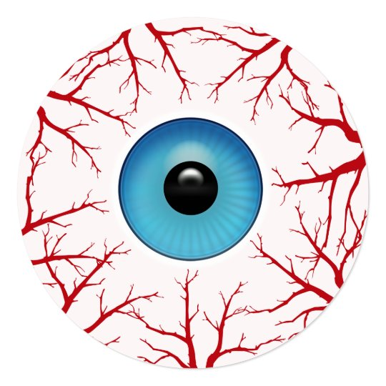 Bloodshot Eyeball Round Halloween Party Card