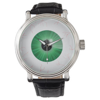 Bloodshot Green Eyeball Wrist Watches