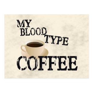 Bloodtype Coffee Postcard