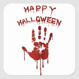 Bloody halloween hand square sticker