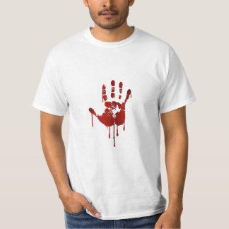 Bloody halloween hand   text on back man's shirt