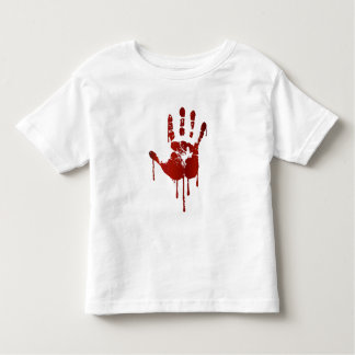 Bloody halloween hand   text on back toddler shirt