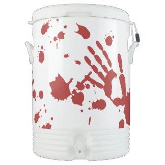 Bloody Hand Print Blood Splatter Halloween Bar Igloo Beverage Cooler