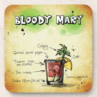 Bloody Mary Bartender Drink Recipe Coaster