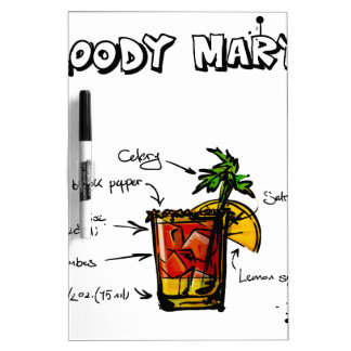 Bloody Mary Cocktail Recipe Dry-Erase Board