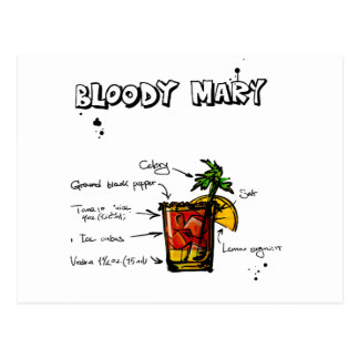 Bloody Mary Cocktail Recipe Postcard