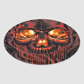 Bloody Red Skeletons Oval Sticker