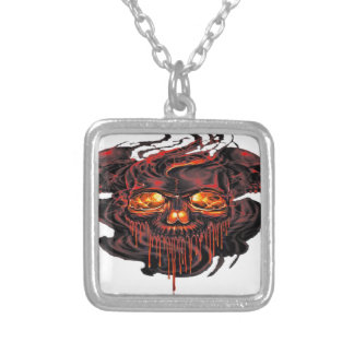 Bloody Red Skeletons PNG Silver Plated Necklace