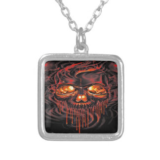 Bloody Red Skeletons Silver Plated Necklace