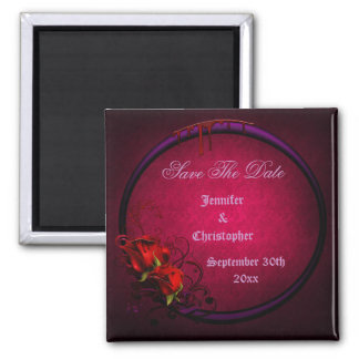Bloody Rose Frame Save The Date Goth Wedding Square Magnet