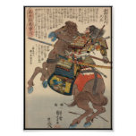 Bloody Samurai in Full Armour on a Horse c.1848 Print