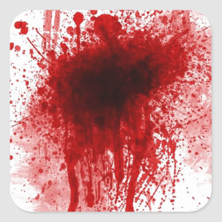 bloody shotgun wound square sticker