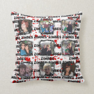 Bloody Zombies Frame Add Photos Instagram Collage Throw Pillow