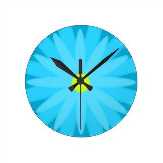 Bloom Turquoise Round Clock