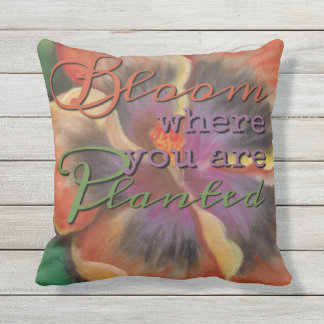 Bloom Where Planted - Tropical Orange Hibiscus Throw Pillow