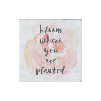 Bloom Where You Are Planted Watercolor Rose Stone Magnets
