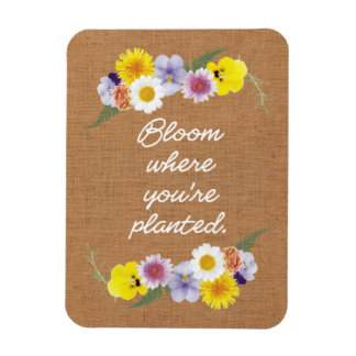 Bloom where you're planted (burlap) rectangular photo magnet