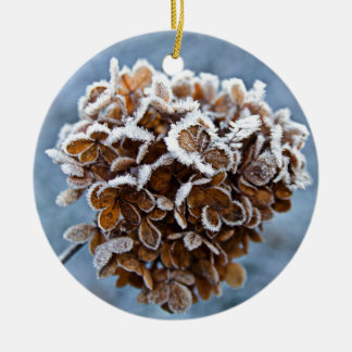 Bloom with ice crystals round ceramic ornament