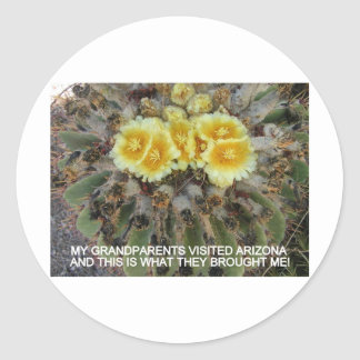 BLOOMING BARREL CACTI AND PHRASES ROUND STICKER