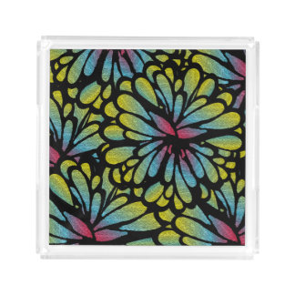 Blooming Blue Fractal Acrylic Tray