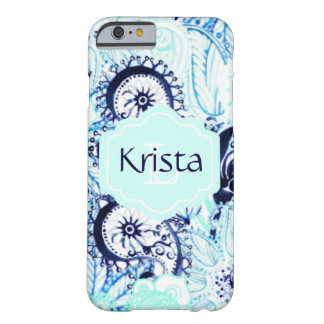 Blooming Blue Paisley Design w/Full Name Monogram Barely There iPhone 6 Case