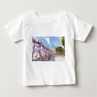 Blooming blue Wisteria sinensis on fence in Greece Baby T-Shirt
