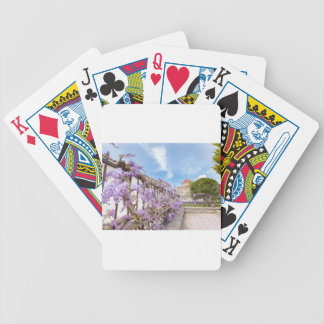 Blooming blue Wisteria sinensis on fence in Greece Bicycle Playing Cards