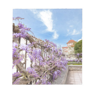 Blooming blue Wisteria sinensis on fence in Greece Notepad