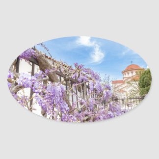 Blooming blue Wisteria sinensis on fence in Greece Oval Sticker