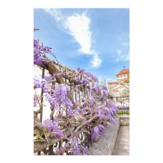 Blooming blue Wisteria sinensis on fence in Greece Personalized Stationery